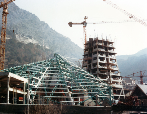 The tower site, under construction